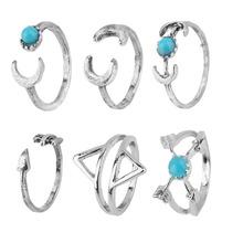 6pcs Punk Turquoise Arrow Moon Midi Rings Set Women Jewelry New Fashion Gift Hot!~~(China (Mainland))