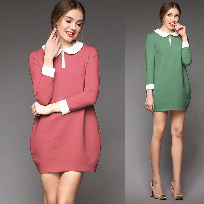 Здесь можно купить  Free shipping Fashion plus size plus size ol peter pan collar loose autumn and winter long-sleeve thermal one-piece dress  brand Free shipping Fashion plus size plus size ol peter pan collar loose autumn and winter long-sleeve thermal one-piece dress  brand Одежда и аксессуары