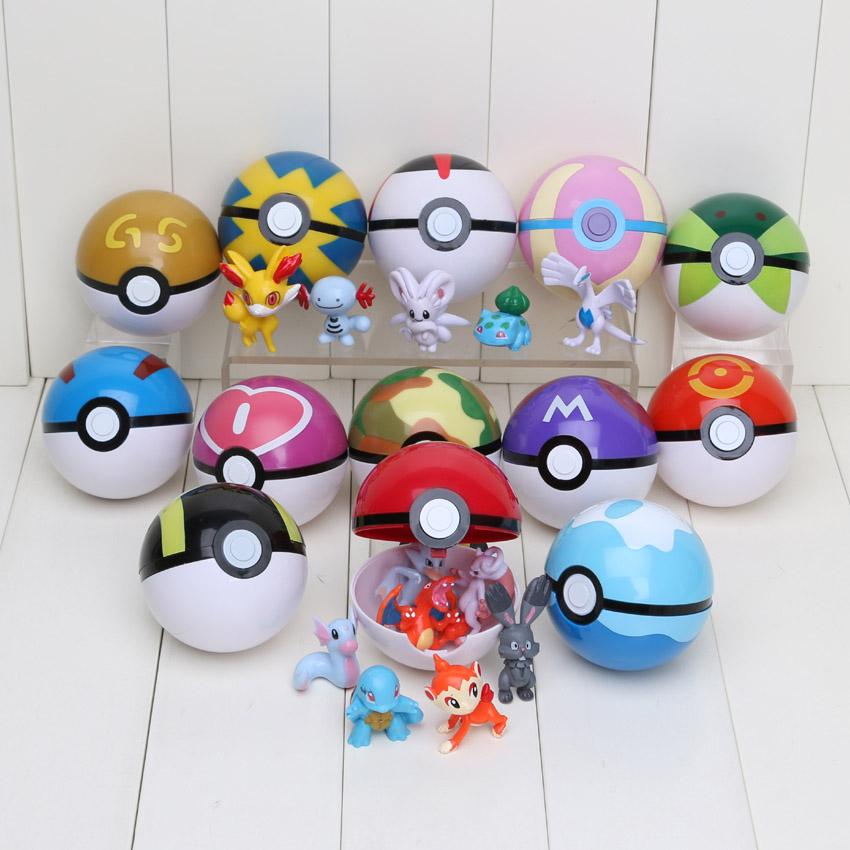 Hot 13Pcs Pokeball &13Pcs Pocket Mini Figures Pikachu Poke Ball Super Master Great Ash Ball Fairy Animals PVC Figure Toys(China (Mainland))