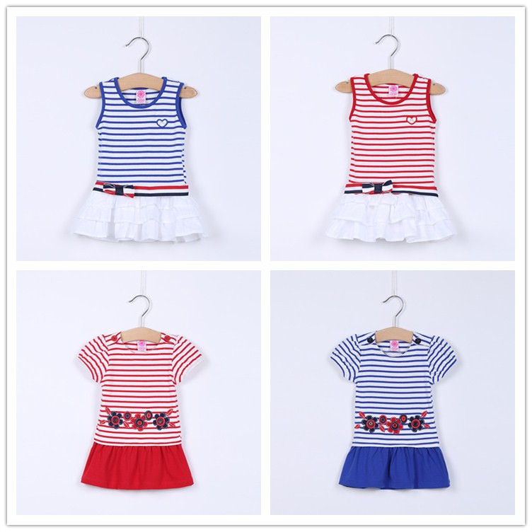 2015 New Lovely Toddler Girl Clothes Dresses Summer Striped Baby Girls Dress vestidos infantis Fashion Retail - Kids & World store