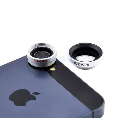 Newest arrival silver color high quality Camera Lens 3 in 1 lens universal for iPhone 4 4S 5 5S 5C 6 Mobile Phone Smartphone(China (Mainland))