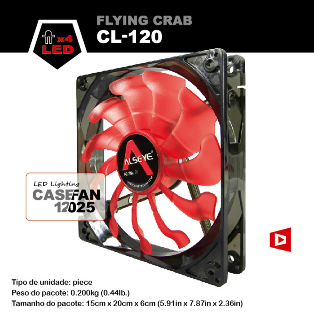 ALSEYE CL-120 - R 120mm Red LED cooling fan for computer case Crab leg 3 pin silent DC 12v fan(China (Mainland))