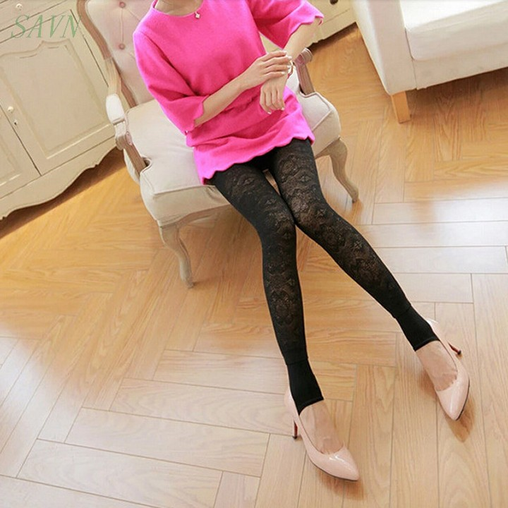 New 2014 Lace Leggings Thick Velvet Pants Winter Fleece Lined Warm Trousers Slim Fitness High Quality All Match 38(China (Mainland))