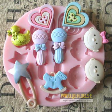 Hearts/Lollipop/baby cartoon silicone soap chocolate mould fondant cake molds for baby shower Kitchen Bakeware Cake Tool(China (Mainland))
