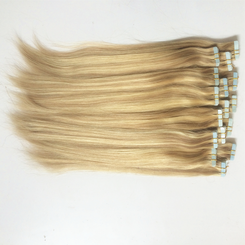 18inch 50g 100g Ash Blonde Highlighted Color  Brazilian Virgin Remy Seamless Tape-in Human Hair Extensions PU Skin Weft Hair<br><br>Aliexpress