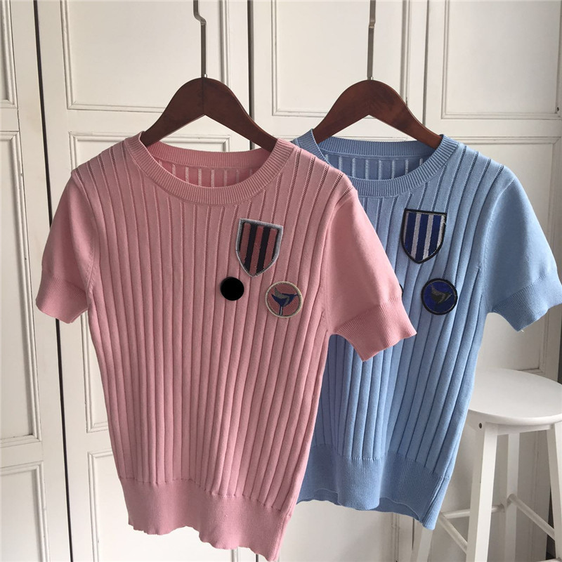 2017 New Spring Women Brand  Embroidery Lapel  Knit T shirt