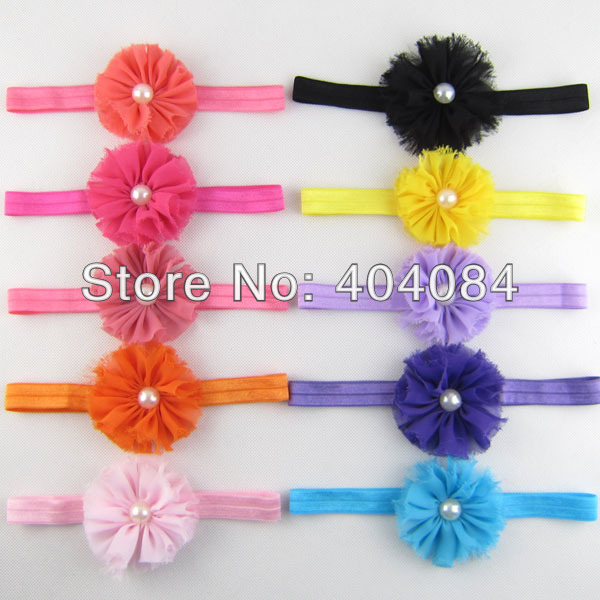 Baby infant Headbands 15colors 2.5inch flower with pearl headbands kids hair accessories 50pcs/lot(China (Mainland))