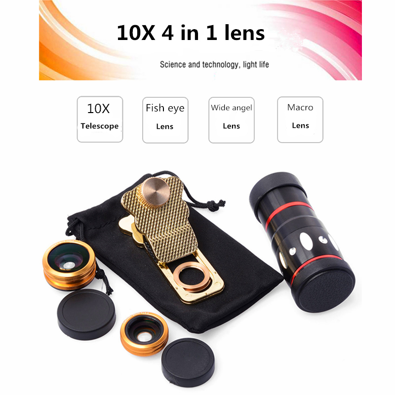 Orbmart Universal 4 in 1 Clip 10X Zoom Telescope Fisheye Wide Angel Macro Lens For iPhone SE 6 6S Plus Samsung S7 S6 Redmi Phone(China (Mainland))