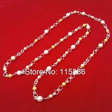 fashion long necklace for women 2016 handmade beaded link chain long necklace woman body chain jewelry Imitation Pearl necklace