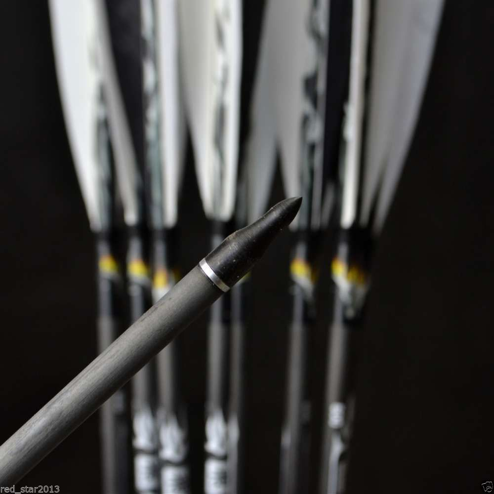 12pcs lot 31 Arrows Archery Turkey Feathers Carbon Arrows 7 5mm Spine 500 Hunting Bow Arrows