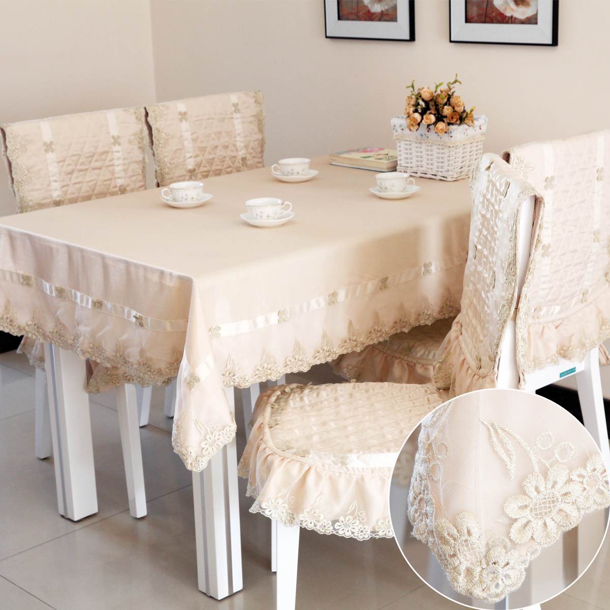 Fashion quality cushion chair covers tablecloth set dining table cloth luxury fabric tablecloth table cloth dining chair cushion(China (Mainland))