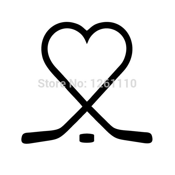 Hockey Sticks Heart puck love play ice Vinyl Decal Reflective Sticker for Snowboard Snow Board Sports Car Truck Window Bumper(China (Mainland))