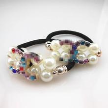 Free shipping,10pcs   New Women Pearl Crystal Rhinestone Hair Band Rope Elastic Ponytail Holder(China (Mainland))