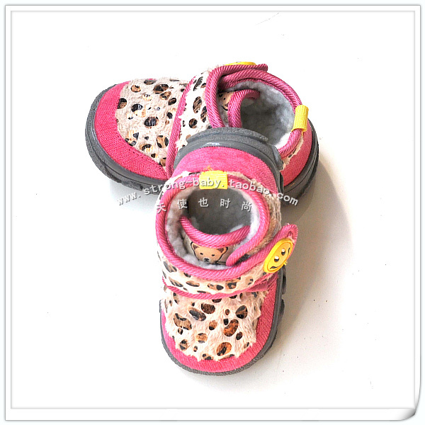 Smiley soft outsole thermal toddler baby shoes slip-resistant male snow boots