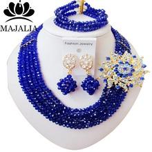 Модный Нигерии Свадебные африканские бусы комплект ювелирных изделий blue Crystal ожерелье браслет серьги Бесплатная доставка VV-232(China (Mainland))