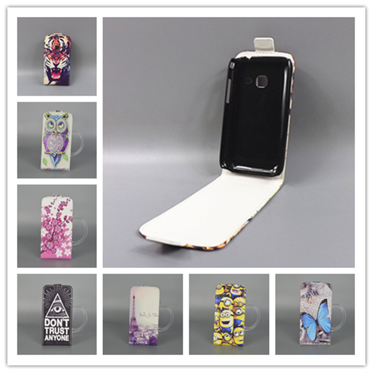 for Samsung Galaxy Y Duos S6102 GT-S6102 GT-S6102B Hot Pattern Cute PrintingVertical Flip Cover Open Down/up Back Cover filpcase(China (Mainland))