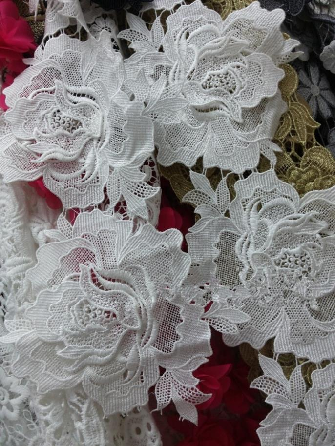 Buy 15yard 16cm flower guipure lace for Wedding dress fabric stores