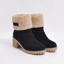 Mới 2019 Giày Bốt Nữ Mùa Đông Giày nữ lông ấm áp Ủng chống trơn trượt gót Vuông nền tảng Mắt Cá Chân Giày cho phụ Nữ size Lớn 35-43(China)