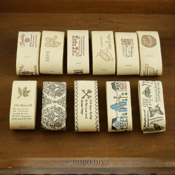 11 designs 2.5CM width cotton label Mixed ZAKKA cotton ribbons for garment clothes patchwork craft and DIY sewing projects(China (Mainland))