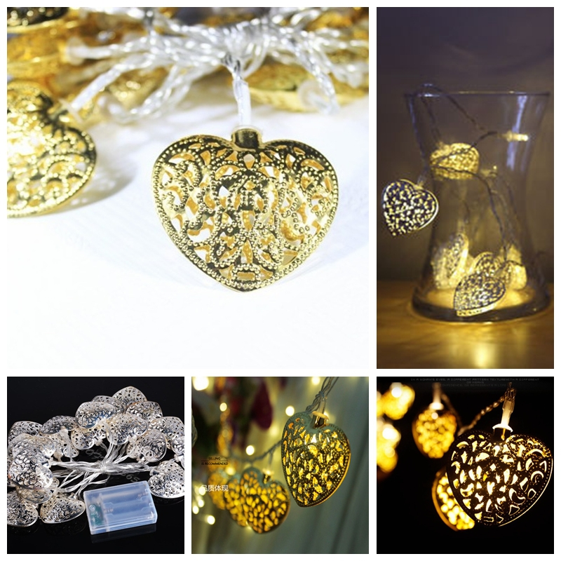 2 Meters Gold Heart shaped Pendant Led String Light For Christmas Part Wedding Decorative Indoor ...