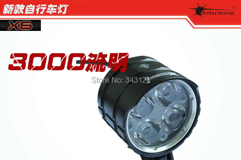Solarstorm X6 Bicycle light 3000LM Cree xm-l T6 led bicycle light bike light lamp + battery pack + charger + gift box