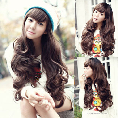 Synthetic Hair Cheap Wigs For Women Medium 65cm Long Wavy Curly Bangs More Color Black.Light/Dark Brown None Lace Hafl Wig <br><br>Aliexpress
