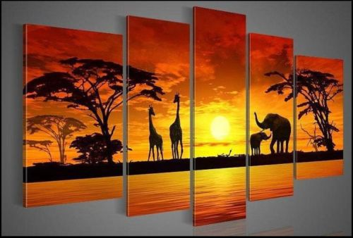 HOT 5pcs Hand painted sun woods The giraffe elephant landscape Oil Painting(China (Mainland))