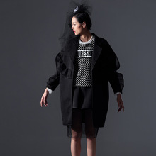 2016 Spring New Original Designer Style Wind Flounced Three-dimensional Air Layer Windbreaker Trech Coat Women Black Coat