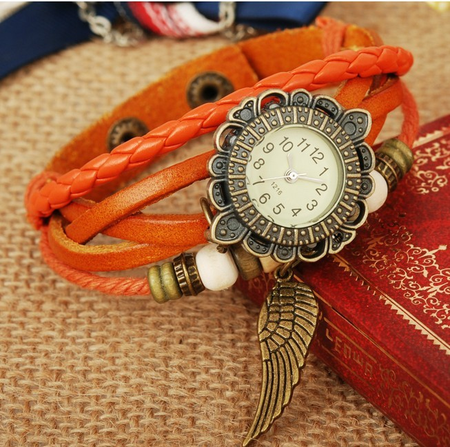 Retro Quartz Fashion Weave Wrap Around Leather Bracelet Bangle Womens Angel wings orange Girl Watch - Greensun Online Sale store