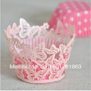120pcs/lot Baby Pink Butterfly Pearl Paper Laser Cut Cupcake Wrapper Wedding Cake Muffin Decoration Wrap Liner Free Shipping(China (Mainland))