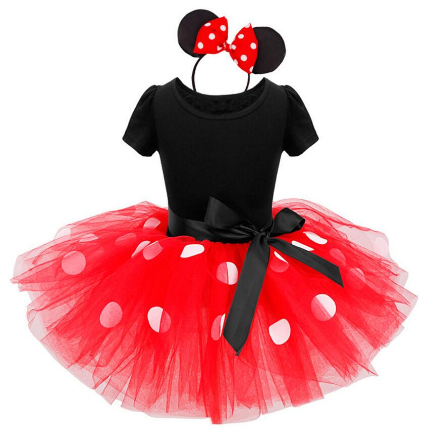 Kids Baby Girls Minnie Mouse Tutu Dress with Ear Headband Carnival Party Fancy Costume Ballet Stage Performance Dance wear(China (Mainland))