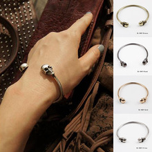 Fine Jewelry 4 Color 2016 New Summer Style Men Women Skull Ends Wire Bangle Cuff Vintage Opening Bangle(China (Mainland))