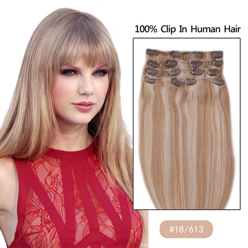Best selling 15 18 20 22 24 70g 100g 110g Remy Clip in Human hair extension Color #818/613 mix color<br><br>Aliexpress