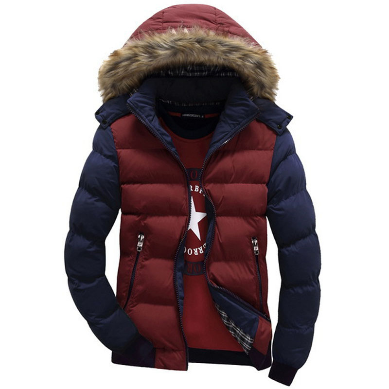 Casual & Fit Men's Winter Jacket Stand Collar Thick Man Down Jacket Size M-3XL Contrast Color Hooded Design Men Parkas(China (Mainland))
