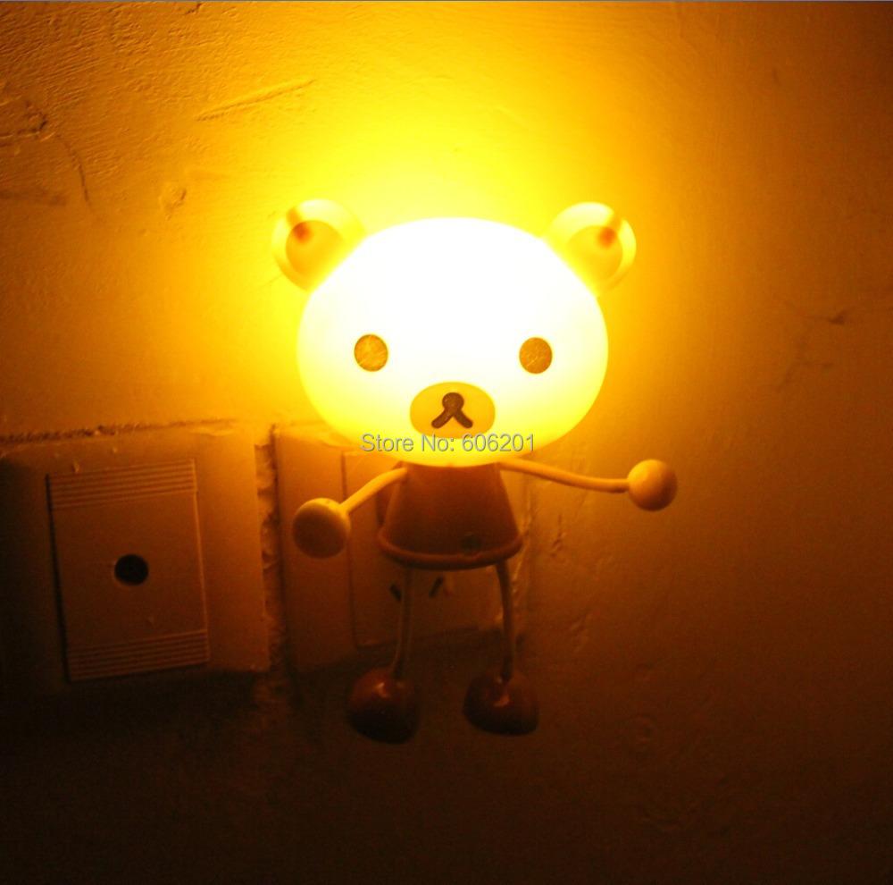 Cartoon San-X/Rilakkuma Bear LED Photoreceptor Light Control Sensor Night Lights,Hallway Beside Bedroom Living Room Lamps Light(China (Mainland))