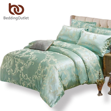 BeddingOutlet Green Bedding Set Cozy Solid Comforter Cover Tribute Silk for Bedroom Bed Sheet Queen King 4pcs(China (Mainland))