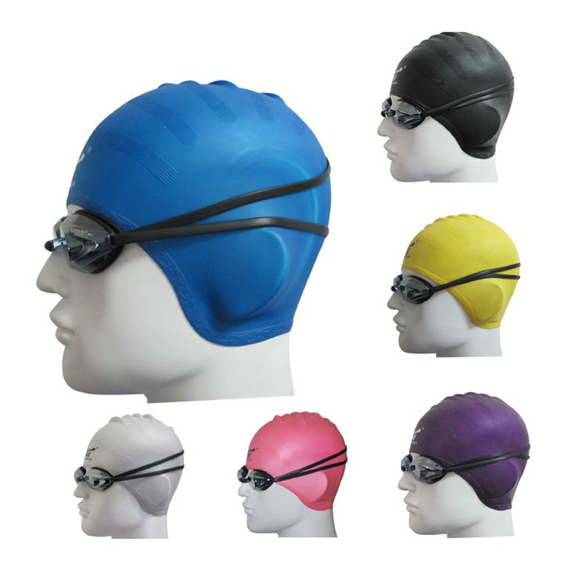 100% silicone swimming cap adult hair cap free size watersports swim caps ears covered(China (Mainland))