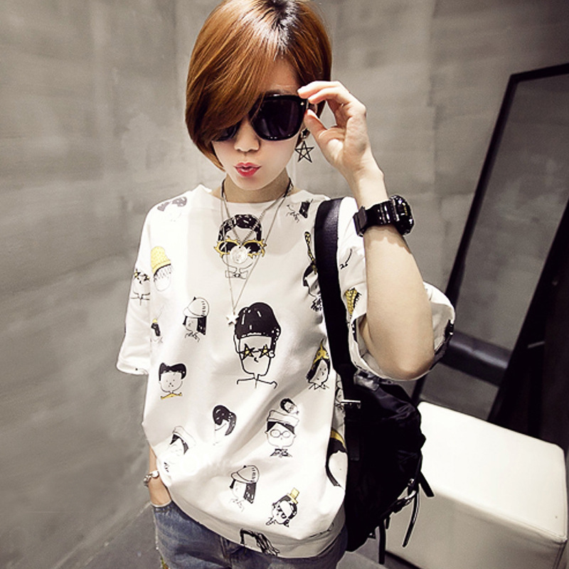 Summer 2016 Women's T-shirt loose cartoon picture printing clothes for women top short Harajuku(China (Mainland))