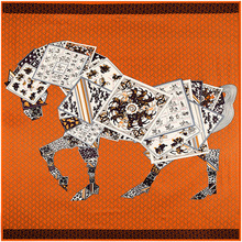 130*130cm New fashion women large twill 100% silk square scarf horse print designer scarves high quality lady shawl hijab(China (Mainland))