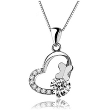 Wholesale Lots Factory Price Real 925 Silver Cubic Zirconia Necklaces & Pendants Crystal Butterfly Heart Fashion Vintage Jewelry(China (Mainland))