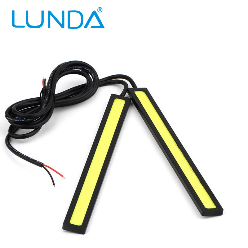 2X 12V Super Bright White 6W COB LED DRL Driving Daytime Running Lights lamp Aluminum Chip Bar Panel free shipping(China (Mainland))