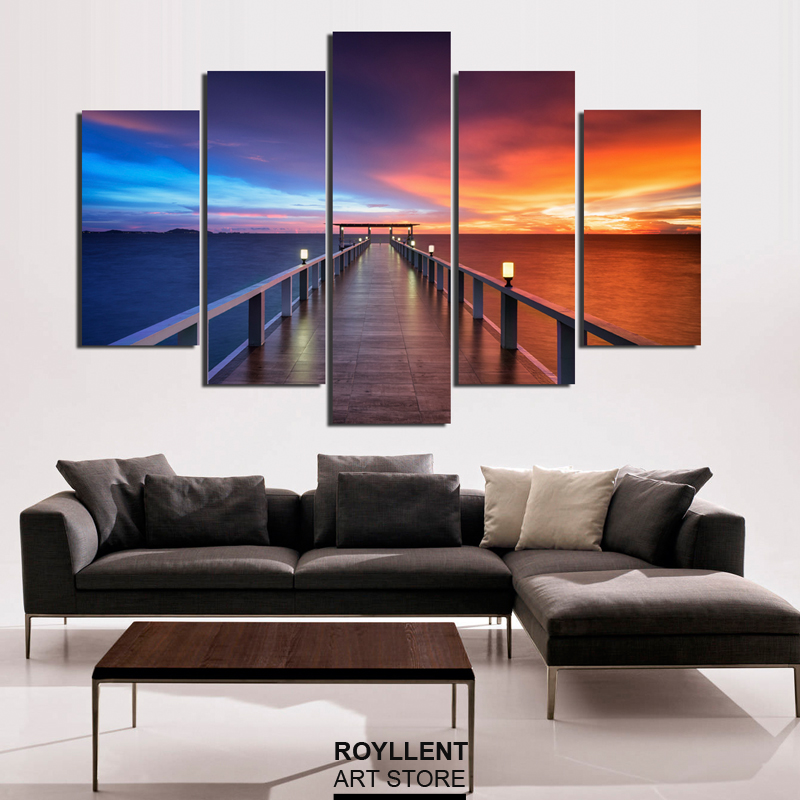 Unframed 5 Pcs Modern Wall Art Canvas Painting Seascape