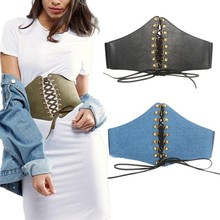 Buy Hot Women's metal Rivets lace-up wide belt Faux Leather Elastic corset Belt Punk leisure Tied Waist belt Girl Clothes Decoration for $9.79 in AliExpress store