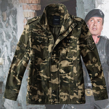 Fashion STALLONE autumn Camouflage outdoor jacket frock canvas outerwear male trench the expendables 2 coat (China (Mainland))