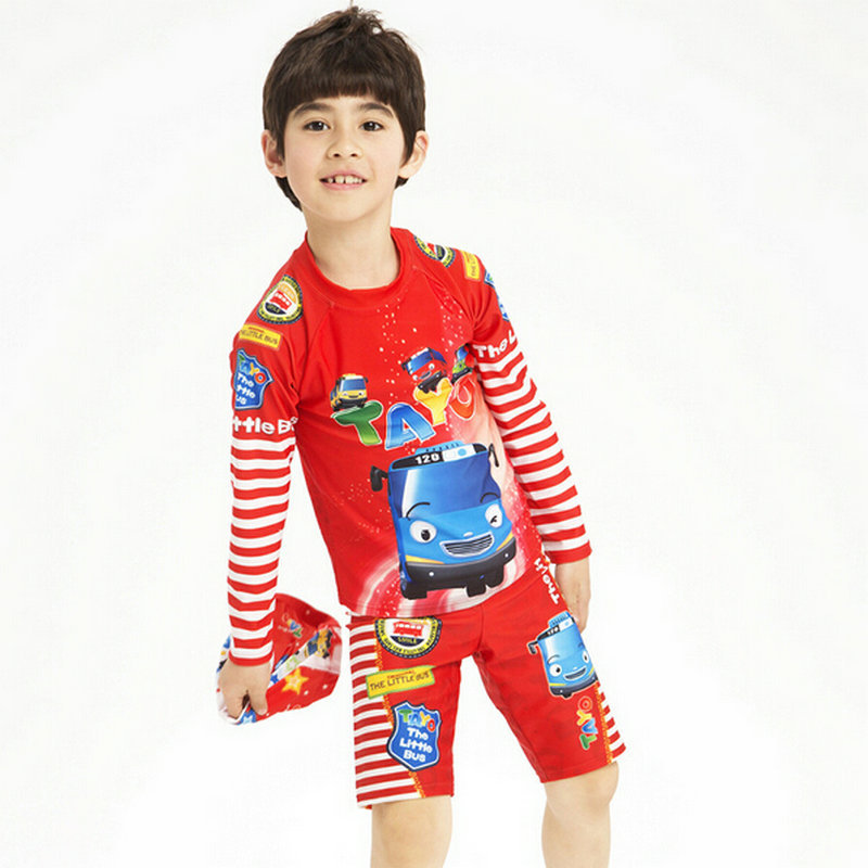 2015 New Boy Swimwear Spring Summer Red Color Cute Cartoon Print Long Sleeves Rash Guard For Kids Children's Swimsuit Set