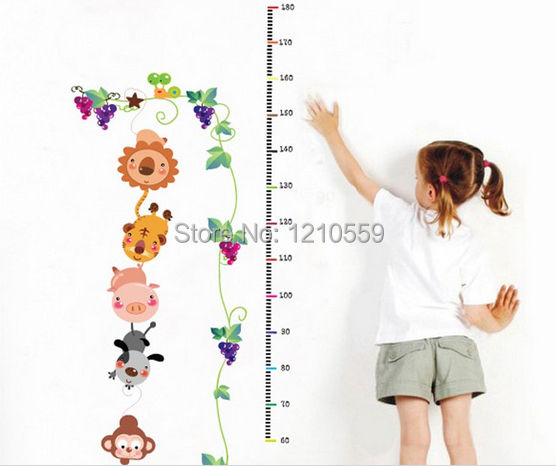 Removable Garden Animals Vinyl Wall Decal Stickers Kids Height Chart Measure(China (Mainland))
