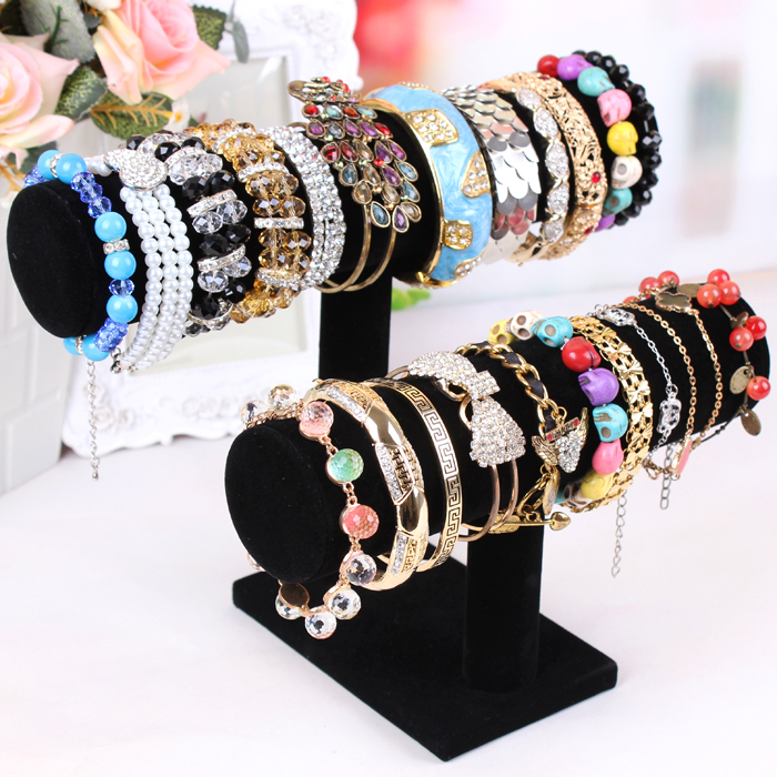 Black Fabric Bangle bracelet display rack made two rings jewelry rack Jewelry display hair tie accessory stand free shipping(China (Mainland))
