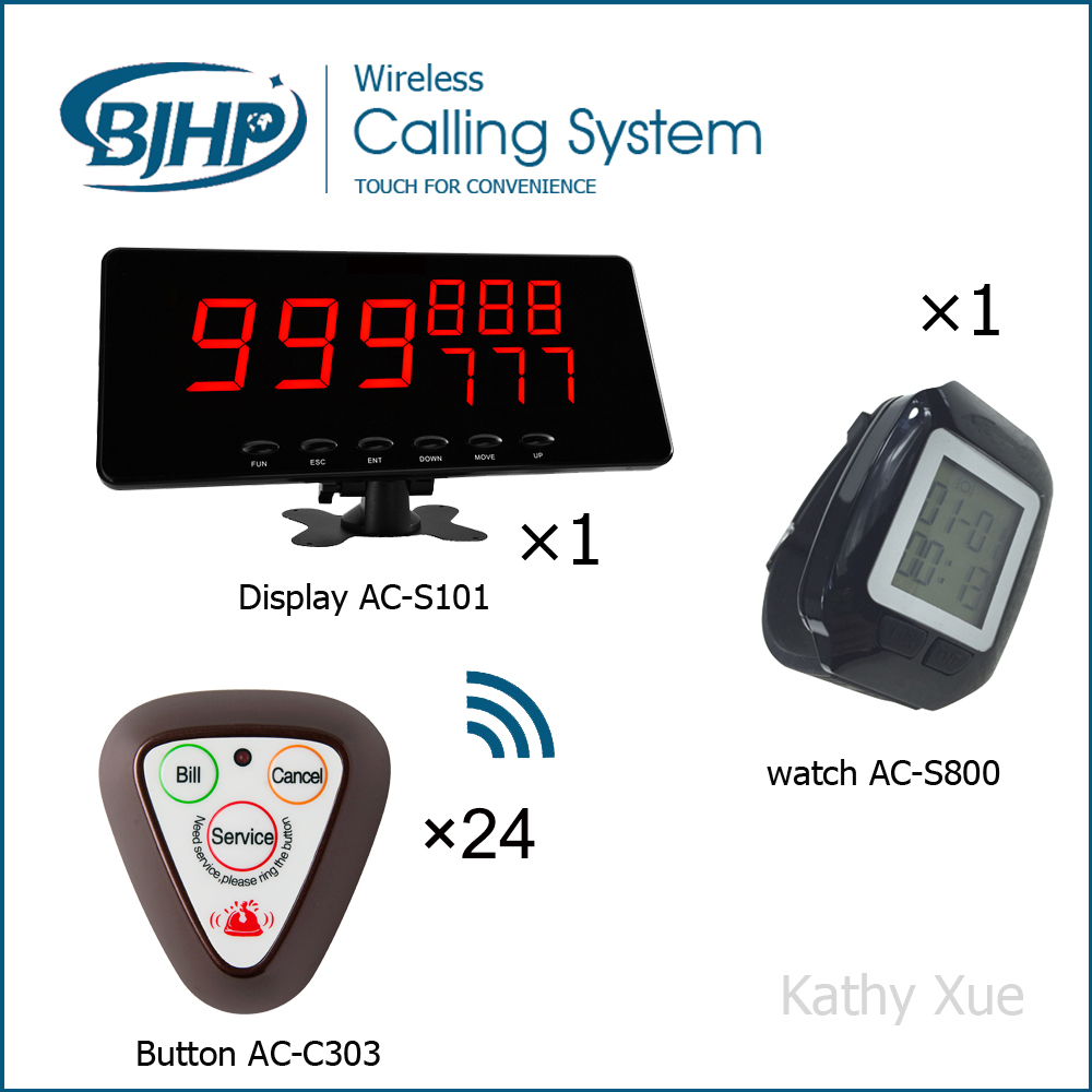 Service Equipment Restaurant Wireless Waiter Call Bell System with 24 Three-key Table Call Buttons 1 Display Panel and 1 Watch(China (Mainland))