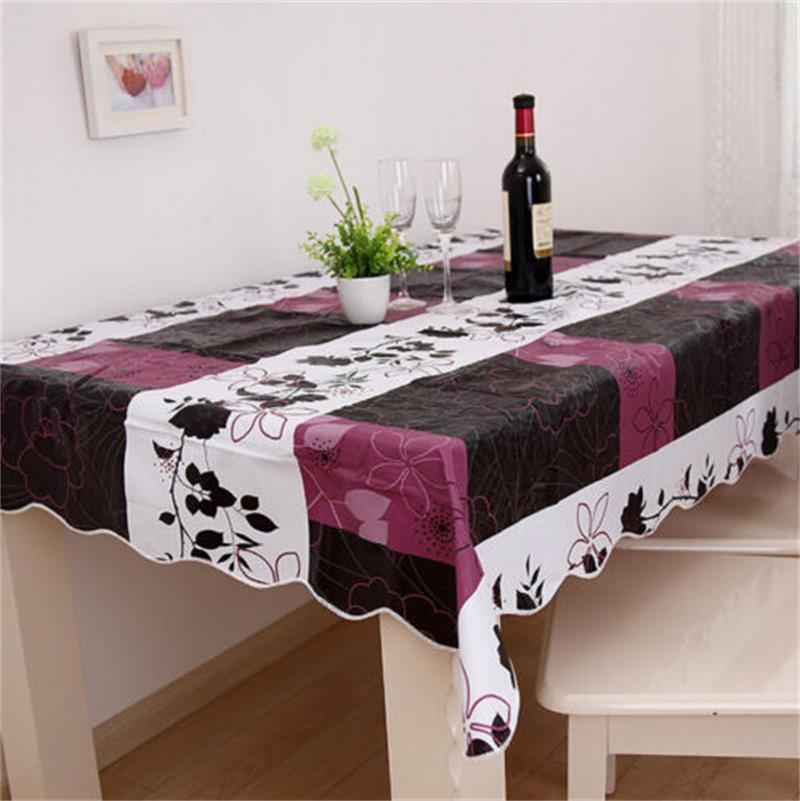 Cool 140*180cm Flannel-Backed Wipe PVC Vinyl Tablecloth Home Dining Table Cover(China (Mainland))