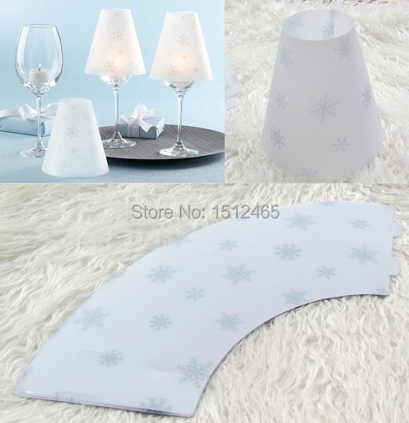 Free shipping,6pcs/lot New arrived Wine Glass Lampshades wine goblet table lamp shade Wedding Table Decoration-Snowflakes DZ02(China (Mainland))